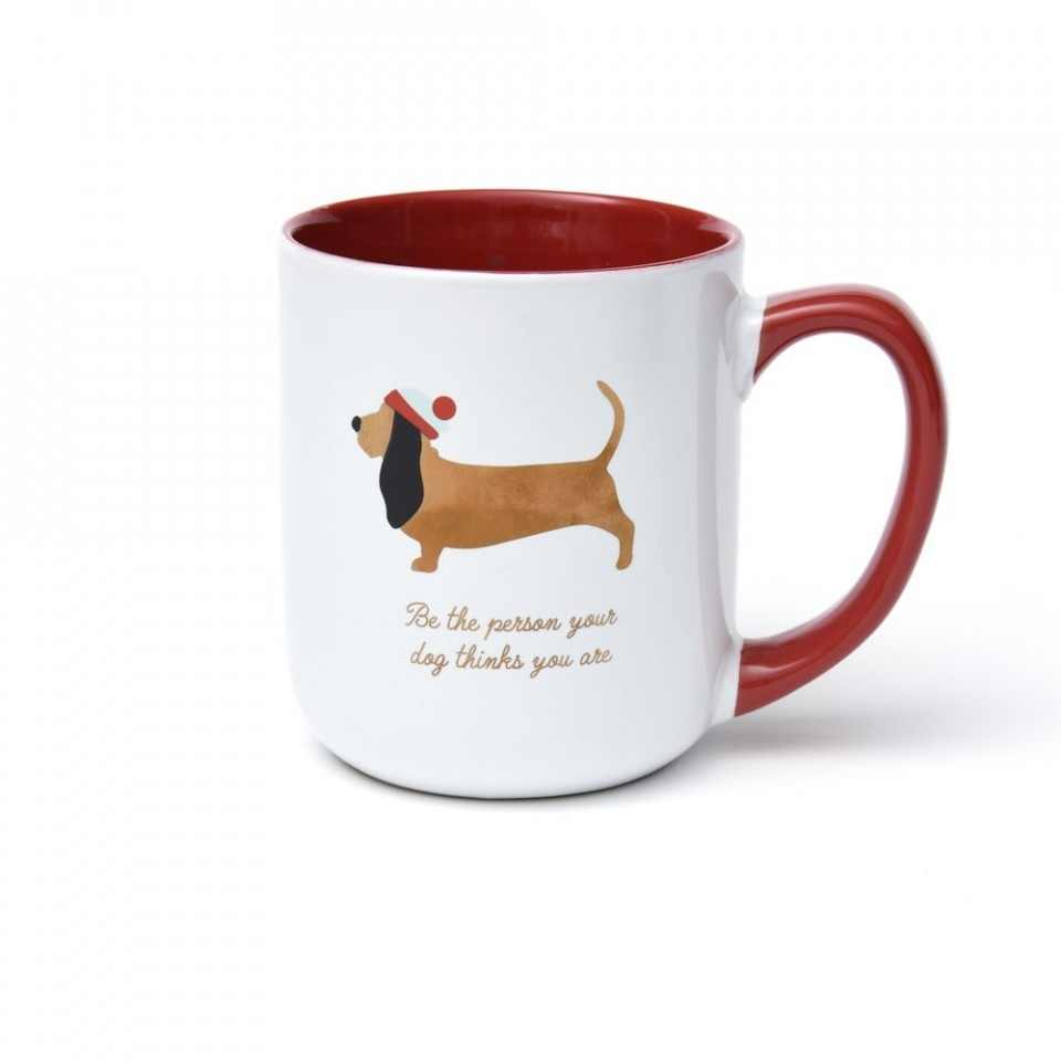 Gold Foil Wiener Dog Holiday Coffee Mug