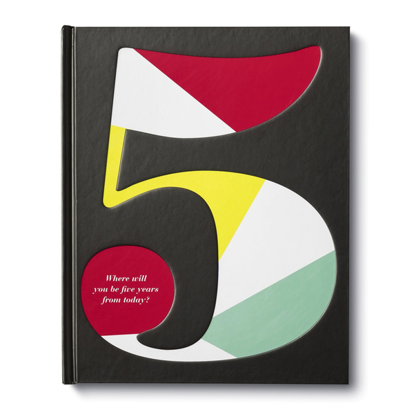 An oversized, colourful number 5, with the subtitle of: Where will you be in five years from today?