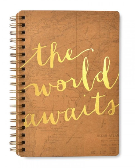 "Gold Foil ""The World Awaits"" Notebook"