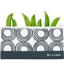 Reusable Zippered Snack Bag Charcoal Circles