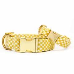 Daffodil Gingham Dog Collar - S / Gold