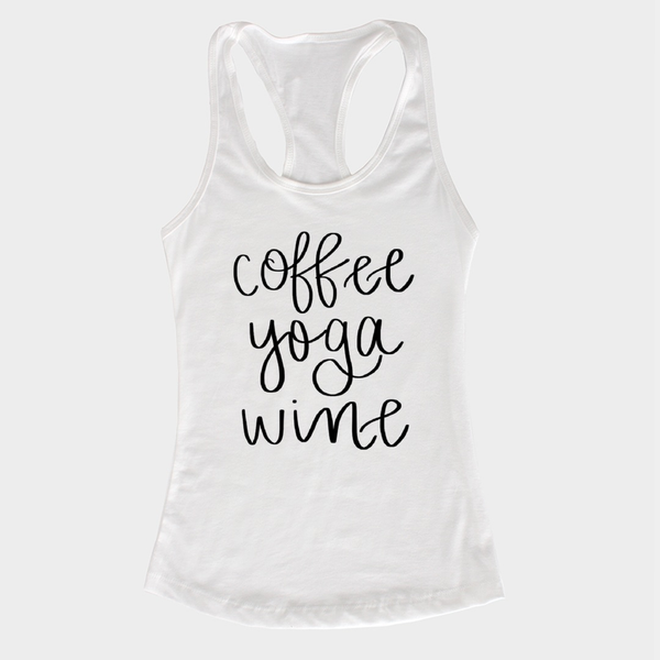 Coffee Yoga Wine Tank - Extra Large / White