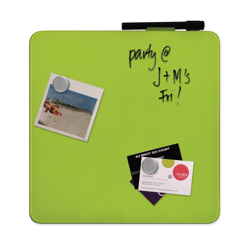 "12"" Magnetic Glass Dry-Erase Square Board -Green"
