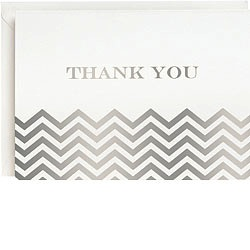 Chevron Silver Foil Thank You Boxed Cards
