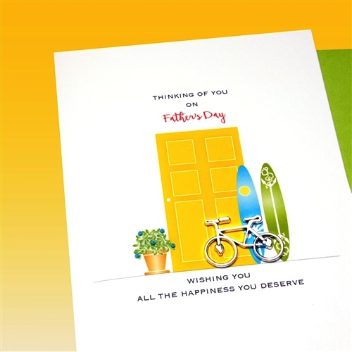 Father's Day Card - Bicycle & Surfboards