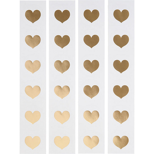 "Gold Foil Heart 1.5"" Circle Stickers"