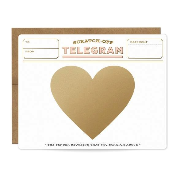 Pink & Gold Telegram Scratch-off Card