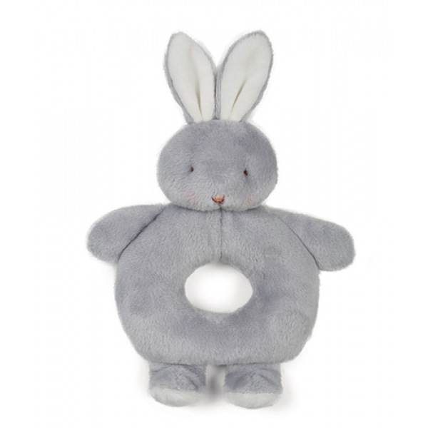 Bloom Bunny Ring Rattle - Glacier Gray
