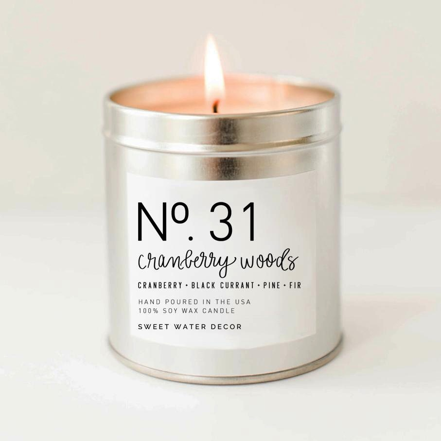 CRANBERRY WOODS SOY CANDLE | SILVER TIN CANDLE