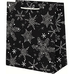 Black and White Snowflake Large Bag