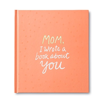 "Peach-coloured book cover with title ""Mom, I wrote a book about you""; a book by Compendium"