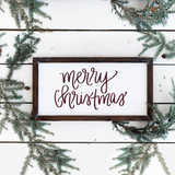 Merry Christmas Wood Sign 9x17