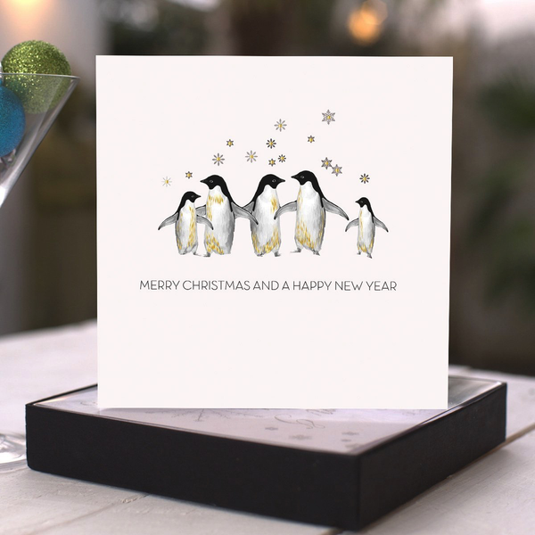Merry Christmas and a Happy New Year (Penguins) - boxed cards