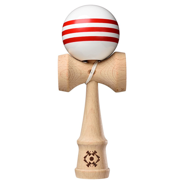 Tribute Kendama White with 3 Red Stripes