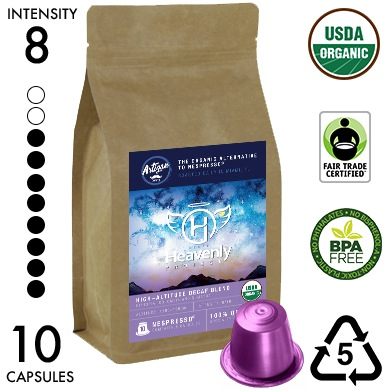 Heavenly Project High-Altitude Decaf Blend - Recyclable Organic Nespresso Compatible Capsules