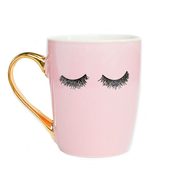 Eyelashes Gold Coffee Mug (Pink)