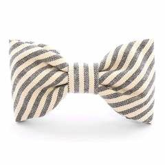 Charcoal Stripe Dog Bow Tie - Standard
