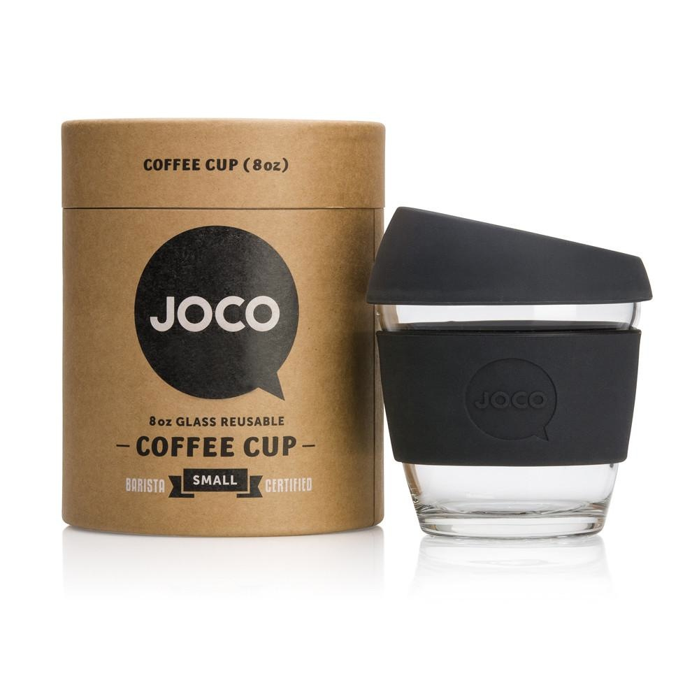 JOCO Reusable Glass Cup - Black 8oz