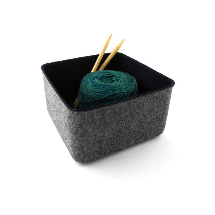 "Felt-Like-It Storage Bin - 7x7""- Grey/Navy"