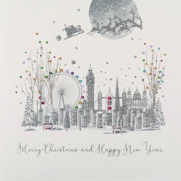 ICED SILVER - Merry Xmas & Happy Year - Boxed Cards