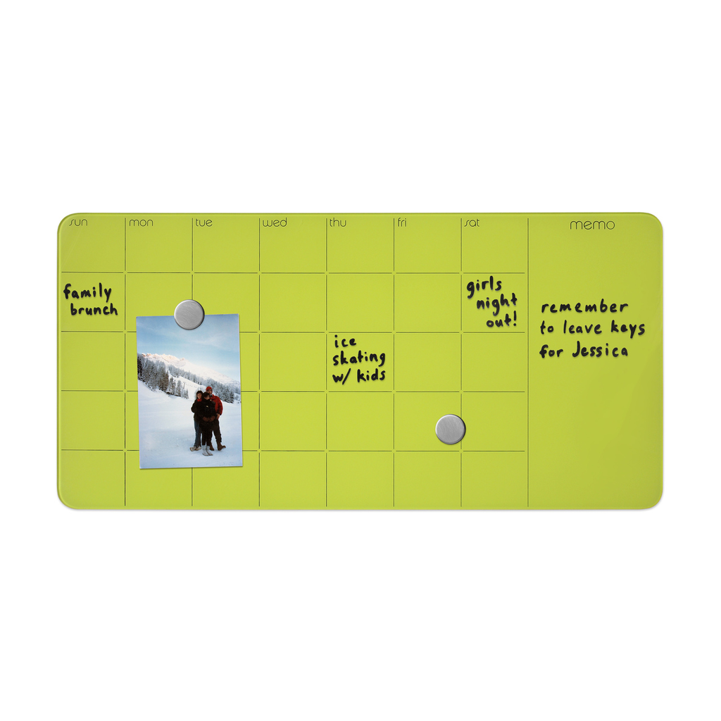Magnetic Glass Dry-Erase  Monthly Planner + Memo Board - Green