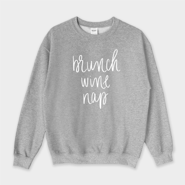 Brunch Wine Nap Sweatshirt - Extra Large / Heather Gray