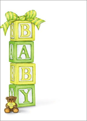 Imprintable Invitation - Baby Blocks Bow