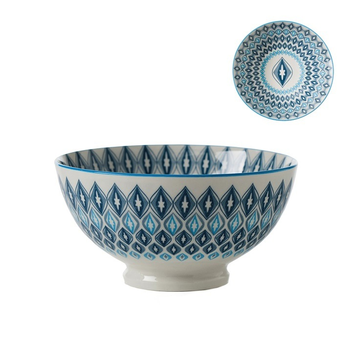 "Porcelain 6"" Bowl - Blue Diamond"
