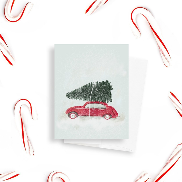 Car With Christmas Tree Card