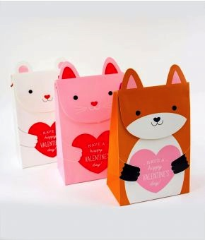 Animal Valentine's Clutch Gift Bags - Set