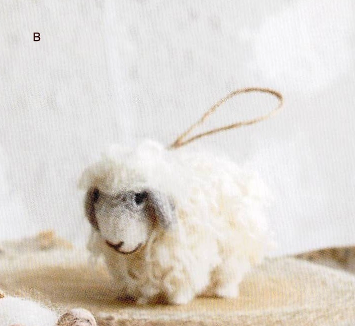 Felt Ornament - White Wooly Sheep