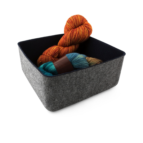 "Felt-Like-It Storage Bin - 9x9""- Grey/Navy"