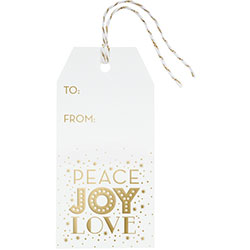 Gold Peace Joy Love Hang Tags