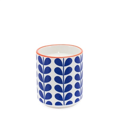 Kiri Soy Wax Filled Porcelain Votive Candle Cup - Blue Vine