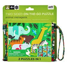 TWO SIDED ON THE GO PUZZLE - ANIMAL MENAGERIE, 100 PC