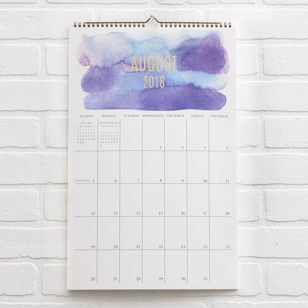 2018-2019 Watercolour Grid Calendar