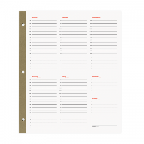Smartdate Weekly Planner Sheets