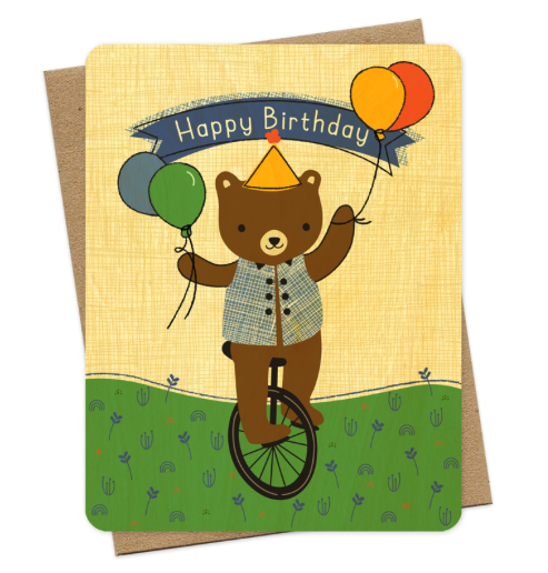 Unicycle Bear - Boxed Cards