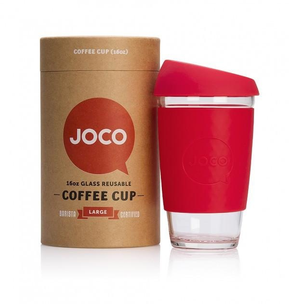 JOCO Reusable Glass Cup - Red 16oz