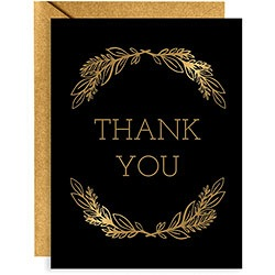 x10 Boxed Thank You Cards - Gold Leaves Foil