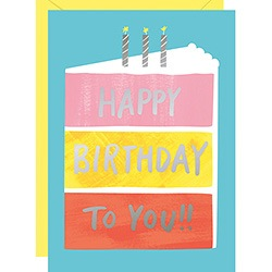 x10 Happy Birthday Cake Foil Cards