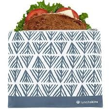 Reusable Zippered Sandwich Bag Blue Geo