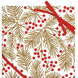 Red Berries & Gold Branch Glitter Continuous Roll Wrap
