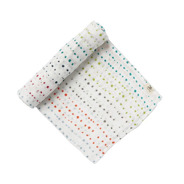 Swaddle Blanket - Painted Dots - Multi Colour