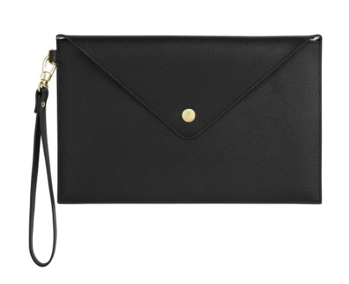kikki k - LEATHER CLUTCH: BLACK