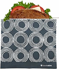 Reusable Zippered Sandwich Bag Charcoal Circles (now BIGGER size!)