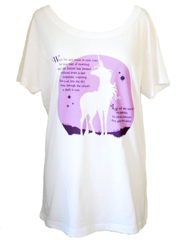 NEW: THE LAST UNICORN MoonSong Scoop Neck: WHITE