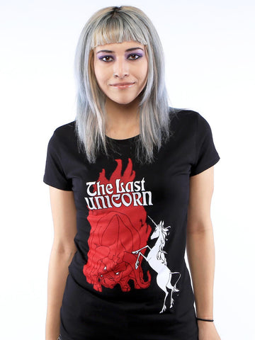 THE LAST UNICORN Retro Poster T-Shirt: Ladies Skinny Fit