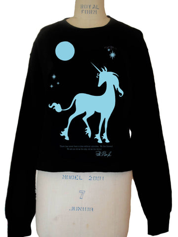 THE LAST UNICORN 'We Live Forever' Unicorn Crop Fleece