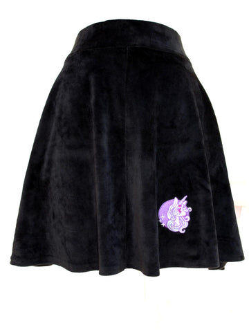 NewBreed  Embroidered Starlight Unicorn Velvet Skater Skirt